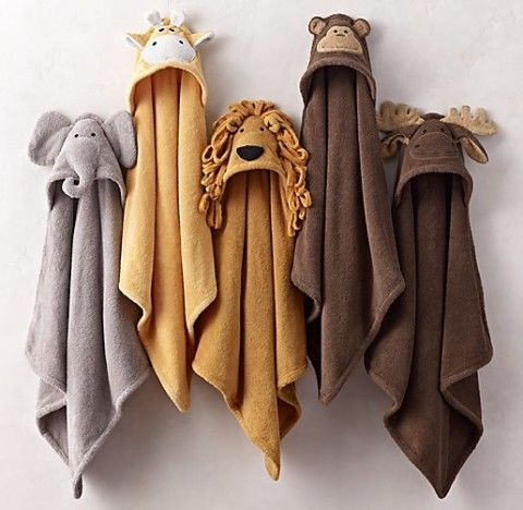 With hoods sewn to resemble a cast of beloved critters, our cozy towels do more than keep little ones extra warm after the bath – they offer kids an unexpected opportunity for costumed imaginary play.  * 100% cotton terry  * 380 grams per square meter  * Made in Turkey  * Machine wash cold with gentle detergent; tumble dry warm  * Avoid fabric softeners, dryer sheets, bleaching agents, household cleaning products, personal care products that contain peroxide, and laundry detergents ...