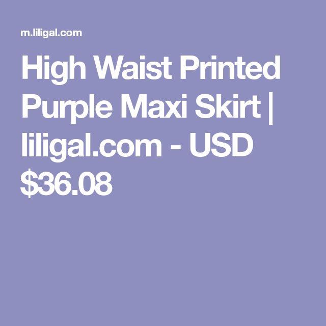 High Waist Printed Purple Maxi Skirt | liligal.com - USD $36.08