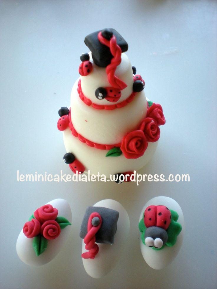 mini cake e confetti decorati