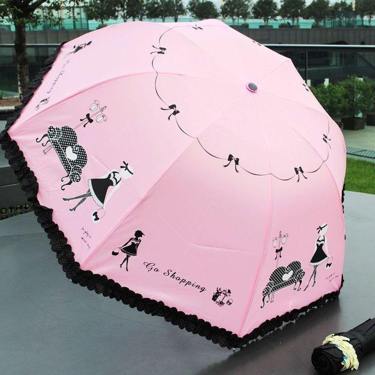 New Fashion Folding Windproof Anti UV Clear/Rain Lacework Princess Umbrella T171