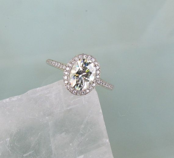 Moissanite Engagement Ring in 14k Gold Diamond Halo 8x6 Oval Moissanite Weddings Anniversary 14k Yellow Gold, 14k Rose Gold on Etsy, $2,001.27 CAD