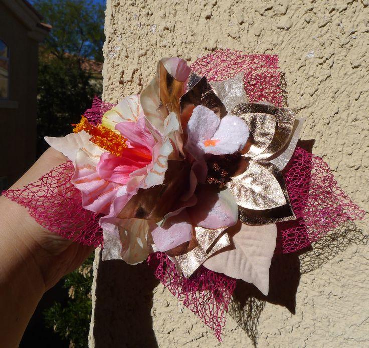 Large Flower Hair Clip Winter Wedding Bridal Pin Up Retro Rockabilly, OOAK!! by princessmadisonparis on Etsy