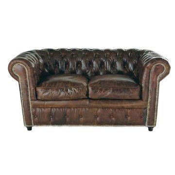 Gestepptes Sofa 2 Sitzer Aus Leder Braun Vintage Vintage Sofa Sofa Und Landhaus Sofa