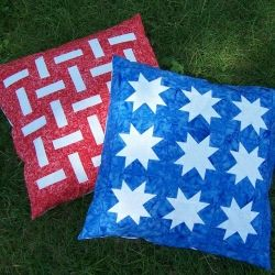 Patriotic pieced pillows with an upcycled oxford shirt back.