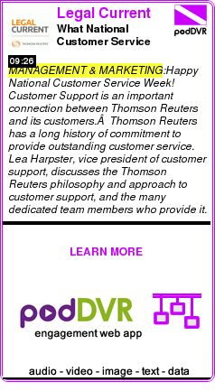 #MANAGEMENT #PODCAST  Legal Current    What National Customer Service Week Means to Thomson Reuters    READ:  https://podDVR.COM/?c=d47bf86c-af7f-0f72-4fc6-c948979024aa