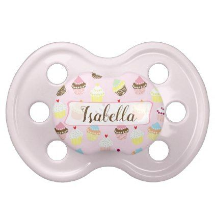 Personalized Pink Cupcakes Baby Girl Pacifier - baby gifts giftidea diy unique cute