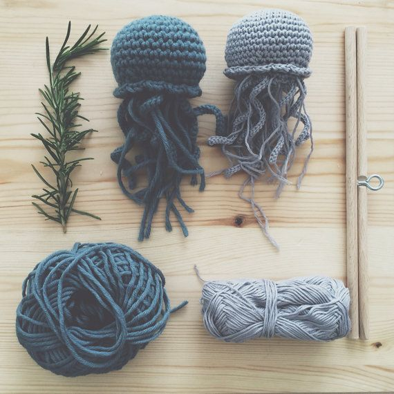 Crochet Jellyfish Baby Mobile Nursery Decor Baby Shower by kckshop
