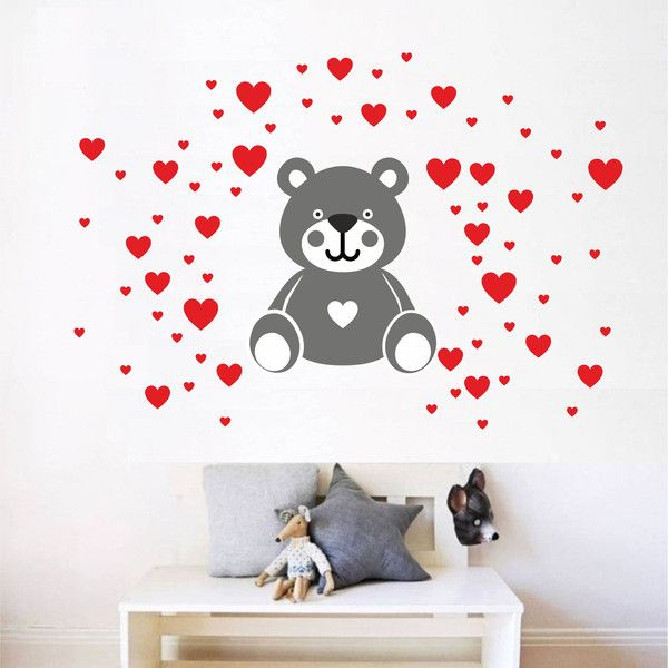 Vintage Kinderzimmerdekoration Wandtattoo Kinderzimmer Teddy Bear mit Herz NR ein Designerst ck von Ideasdecor bei