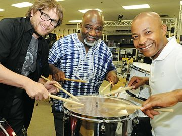 Rhythmfest gets beat going at Holly park, Barrie waterfront - The city's annual Rythmfest starts tomorrow. Testing out drums at Music Pro are, from left, store manager Jason MacNeill, city culture director Rudi Quammie Williams and Errol Lee, Rythmfest MC.