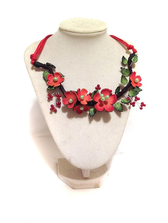 Statement leather necklace Bright flowers necklace by julishland, $28.00