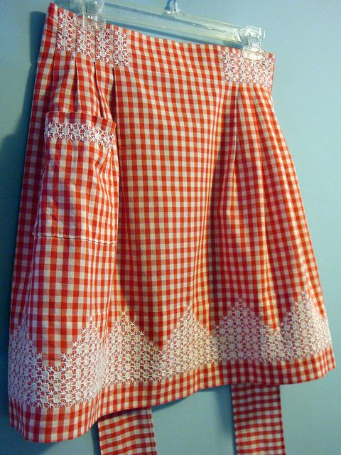 Vintage Gingham Apron with chicken scratch embroidery