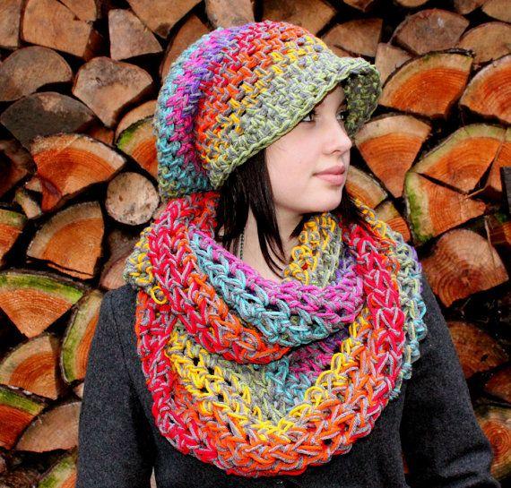 arco iris rasta amor sombrero flexible guantes por HookedWear