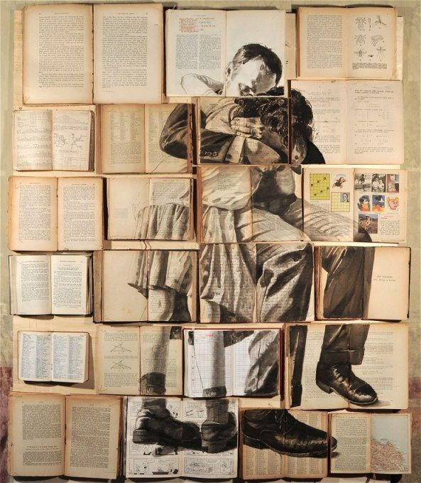 Russian artist Ekaterina Panikanova uses open-faced books, carefully aligned with one another, as a large canvas for each of her paintings.