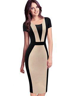 VfEmage Womens Elegant Colorblock Contrast Work Business Casual Pencil Dress 2138 Beige 12 VfEmage http://www.amazon.com/dp/B01CE3WP5S/ref=cm_sw_r_pi_dp_qAZ5wb0DAAFH0