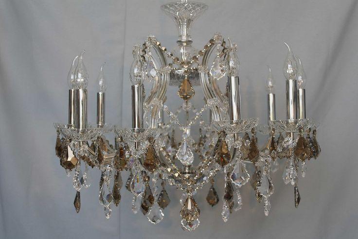 María teresa de 10 luces con detalles de cristal Fume