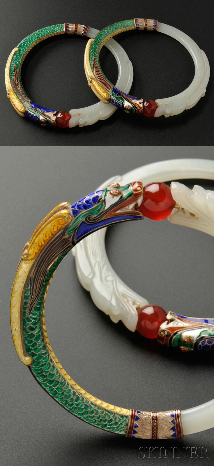 Bangles | Marie Zimmermann. Jade and enamel; each designed as carved jade and polychrome enamel dragons holding a red bead | These bracelets were included in a 1939 exhibition of her work in Santa Barbara, and she kept them throughout her life.