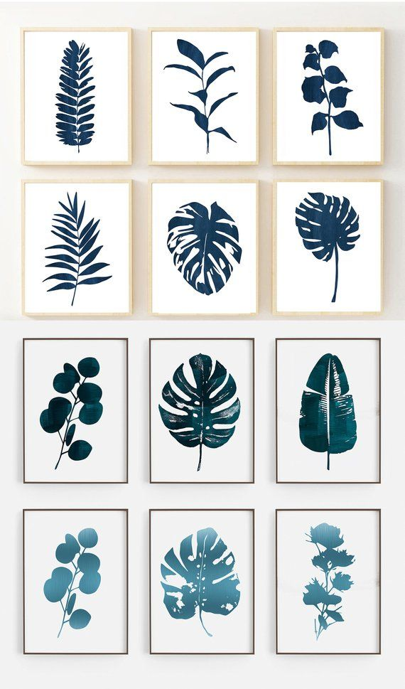 Monstera Leaf Print Navy Leaf Prints Modern Leaves Modern Botanical Art Prints Navy Botanical Prints Flower Illustration Etsy Art Prints Botanical Prints