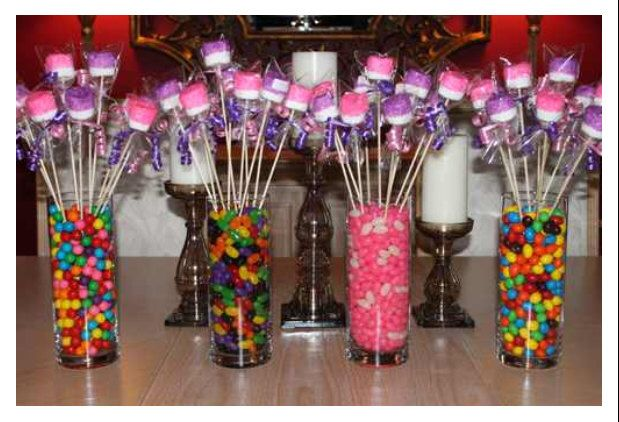 candy and marshmallow table centerpiece for a birthday table decor for birthday party birthday table centerpieces
