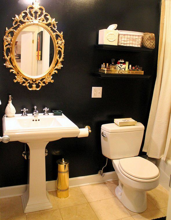 Navy blue walls with gold accents would be beautiful for Blue and black bathroom ideas