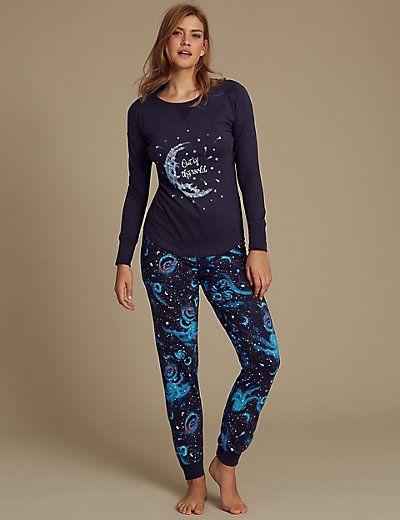 Cotton Rich Printed Long Sleeve Pyjamas | M&S