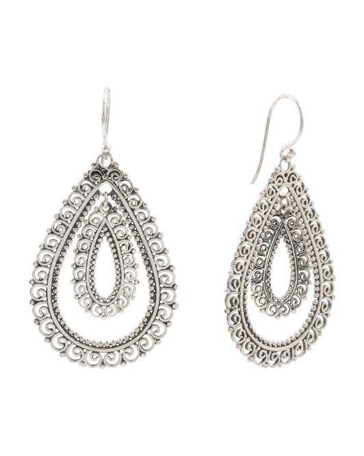 d8522f7be ANNIKA WITT Made In Bali Sterling Silver Double Filigree Drop Earrings  $24.99
