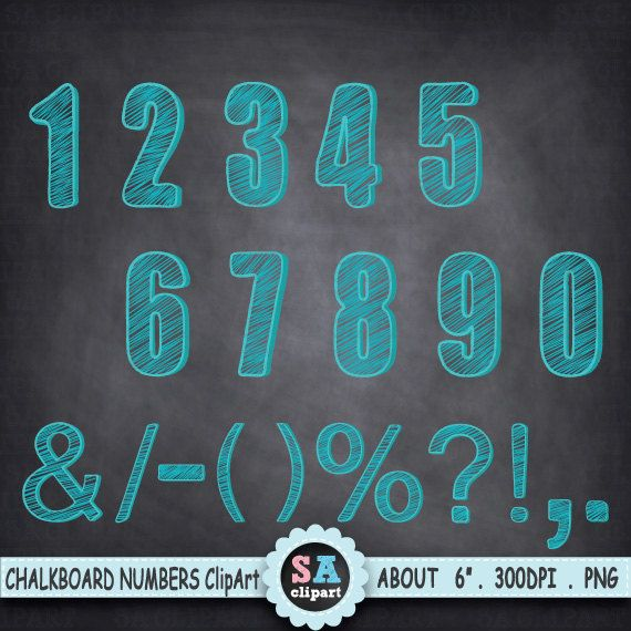 """Chalkboard Numbers Clipart  """"CHALKBOARD NUMBERS """"clipart,Aqua Number Clipart,Chalk Font,Letter clipart,Birthday,Party,Instant Download Ca044 by SAClipArt on Etsy"""