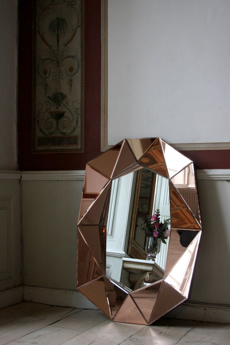 Diamond large rosegold silver mirror