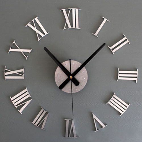 New-Metal-DIY-Silver-Vintage-Roman-Numeral-Number-Frameless-Wall-Clock-3D