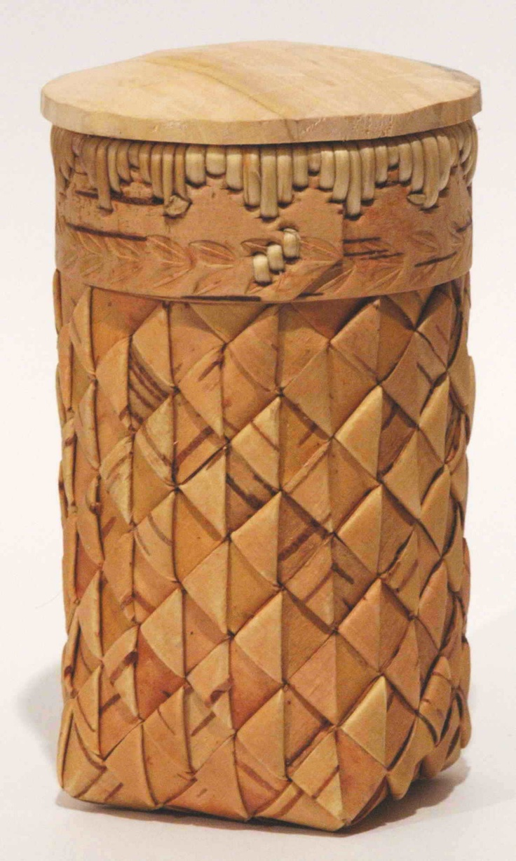 Russian Birch Bark Canister with Curls - Learn from Vladimir Yarish at the 2013 Stowe Basketry Festival!