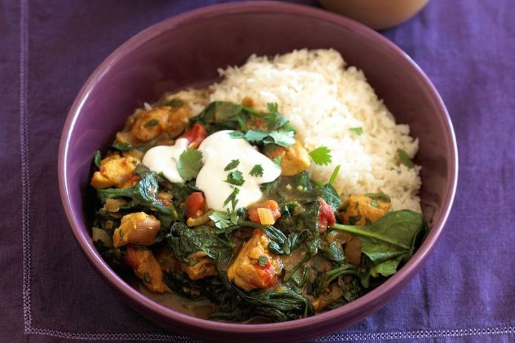 Palak Chicken - Chicken with Spinach SWANK NOTE:  Skinless chicken breast only; olive oil preferred.