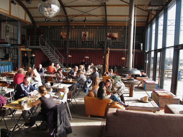 Coffee houses in amsterdam pllek at ndsm family travel for Food bar brecht