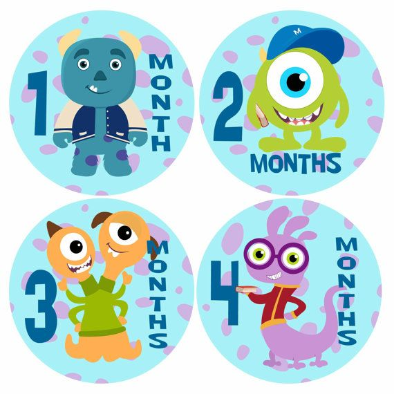 Baby Monthly Stickers  MONSTERS INC UNIVERSITY by PunkyPony, $9.99
