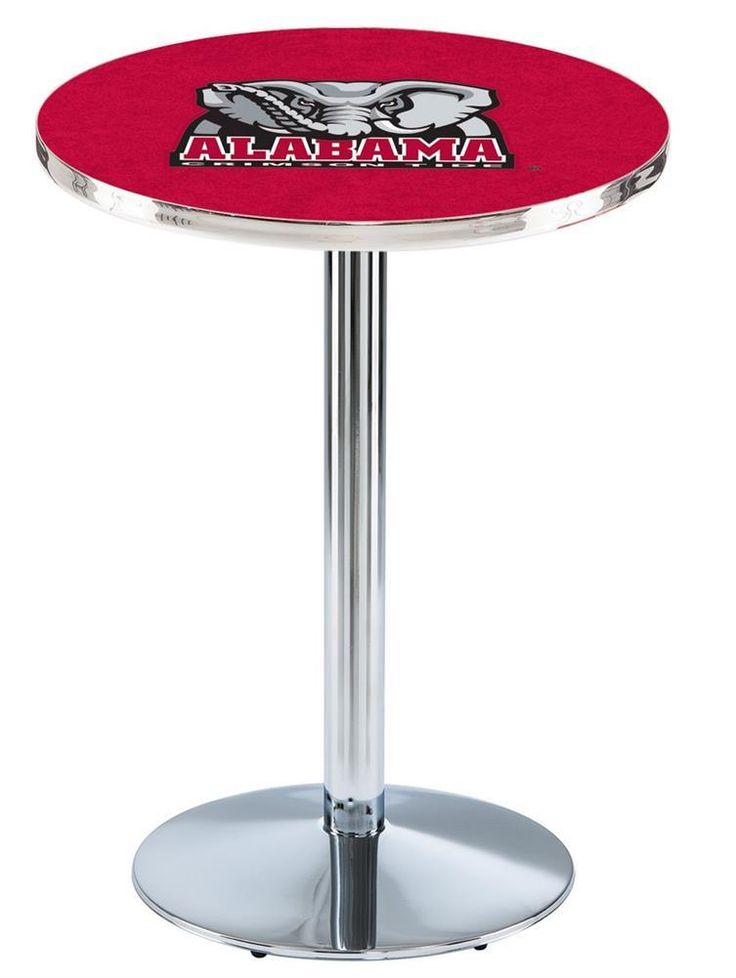 Alabama Crimson Tide Bama Pub Table With Chrome Base and Edge