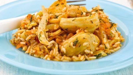 Αγκινάρες με ρύζι και ντομάτα(3 μονάδες) | Diaitamonadwn.gr