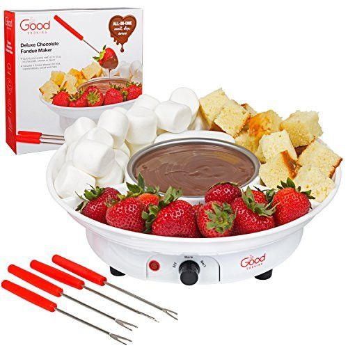 Chocolate Fondue Maker- Deluxe Electric Dessert Fountain Fondu Pot Set with 4 Forks and Serving Tray