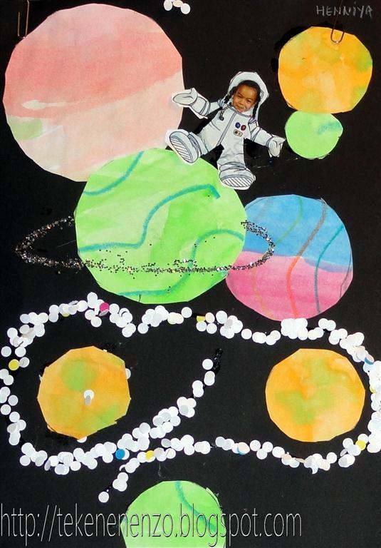 Tekenen en zo: wasco Ook leuk voor databord! Elk kind één astronautje tussen de sterren en planeten
