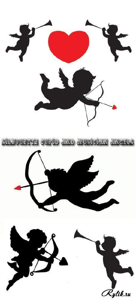 Черные силуэты купидонов, ангелов - вектор. Silhouette cupid and musician angels