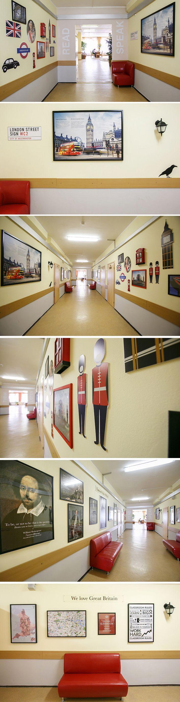 Дизайн английской рекреации в школе. Оформление кабинета английского языка. Студия 33dodo   English classroom decoration in school
