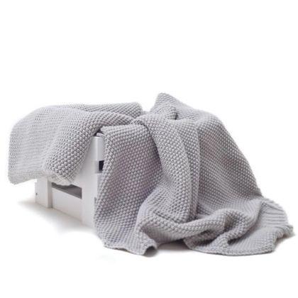 Cotton Classic - kocyk tkany gołębi szary
