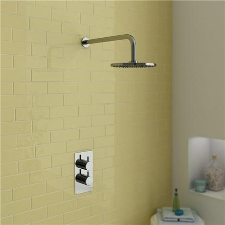 Cruze Concealed Shower Valve with Wall Mounted Fixed Round Head - Chrome