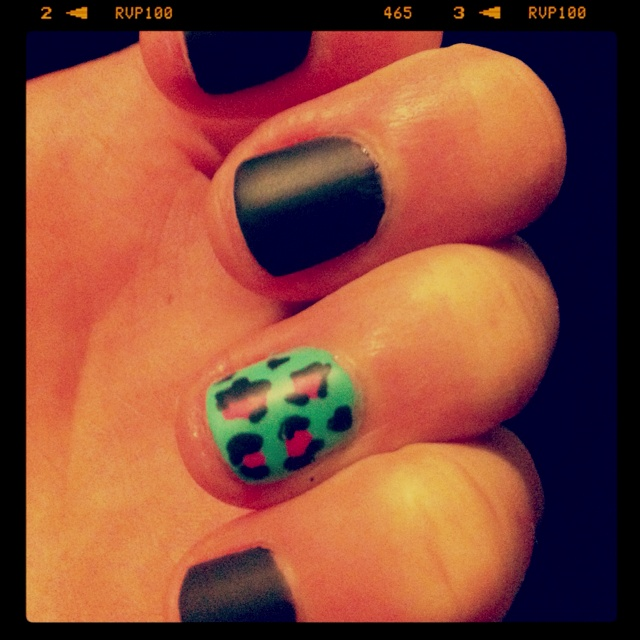 My nails- matte with Leopard party nail!