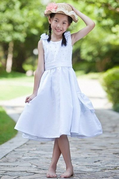 Scoop Satin White Flower Girl Dress - Order Link: http://www.thebridalgowns.com/scoop-satin-white-flower-girl-dress-tbg3827 - SILHOUETTE: A-Line; SLEEVE: Sleeveless; LENGTH: Knee Length; FABRIC: Satin; EMBELLISHMENTS: Beading , Sash , Bowknot , Flower , Layered , Sequin - Price: 112USD