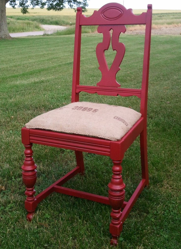 Rustic Red chair with burlap covered seat. $50.00, via Etsy.
