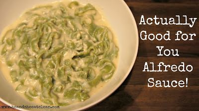 One of the biggest challenges I had as a clean eating wife trying to get my  husband on board was depriving him of Alfredo sauce! He LOVED it! He claims  to have never eaten red tomato pasta sauce (though I converted him as long  as I make it spicy enough) and for as long as I could remember, he gobbled  the creamy, buttery Alfredo sauce up. Well, leave it to me to find him an  alternative to his favorite!  P.S. Have you heard about our FREE 13 Day Clean Eating Challenge? Learn  more here…