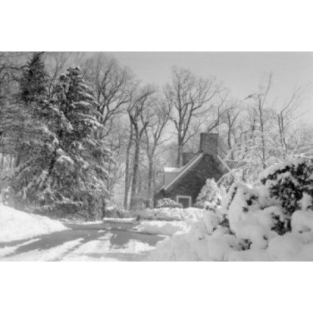 USA Pennsylvania snow-bound cottage Canvas Art - (24 x 36)