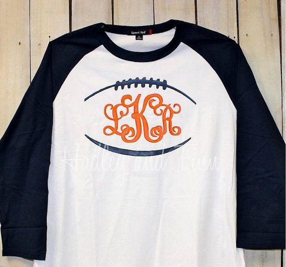 This listing is for a monogrammed football tee complete with your choice of monogram and colors. These are perfect for the upcoming football