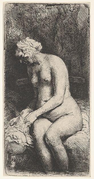 Woman Bathing Rembrandt (Rembrandt van Rijn)  (Dutch, Leiden 1606–1669 Amsterdam) Date: 1658 Medium: Etching Dimensions: sheet: 6 5/16 x 3 1/4 in. (16.1 x 8.2 cm) Classification: Prints Credit Line: Bequest of Phyllis Massar, 2011 Accession Number: 2012.136.462
