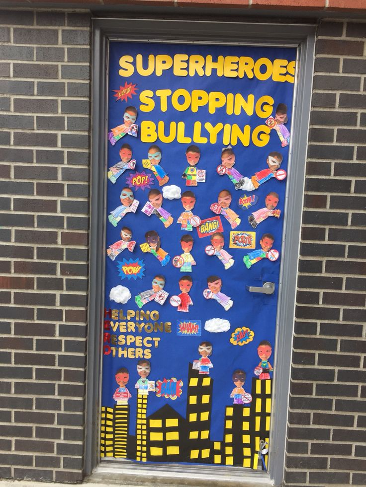 Superheroes Stopping Bullying Door Decoration for Anti Bullying Door Contest