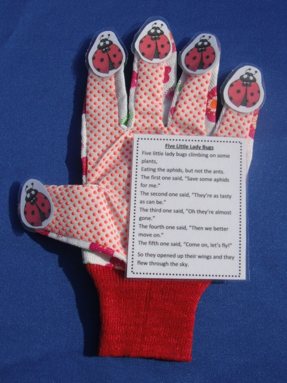 Classroom Theme Ideas Preschool ~ Five little lady bugs glove hand fingerplay by