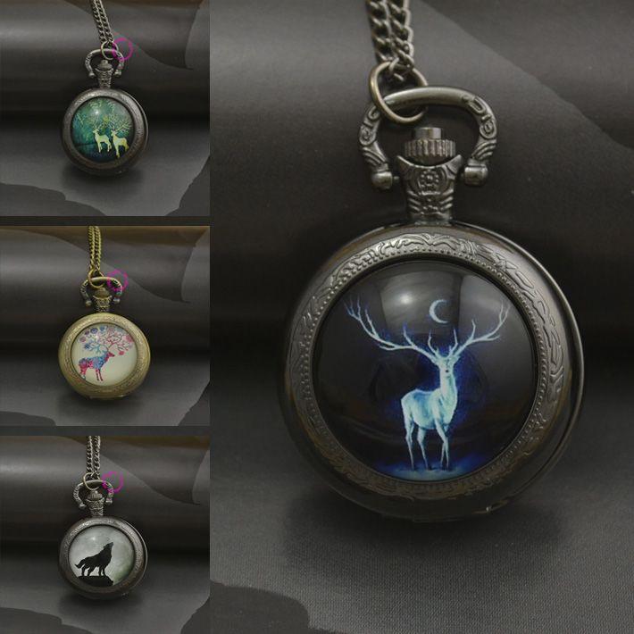 Оптовая продажа мода волк олень карманные часы ожерелье женщина брелок часы черный бронзовый круглый выпуклой линзы…